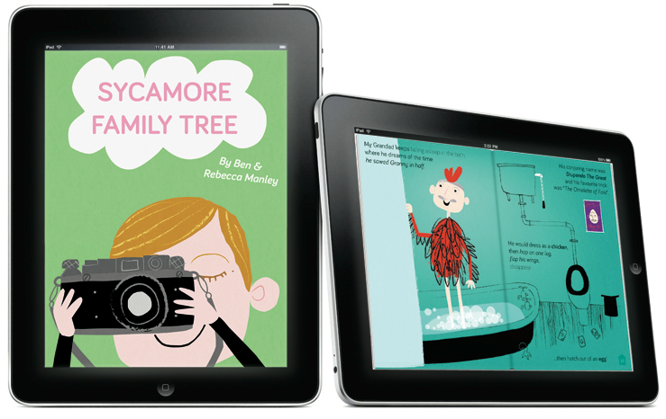 Two iPads featuring images from the book: one depicts a girl holding up a camera as if to take a picture of the reader, the other is of an old man in a chicken costume.